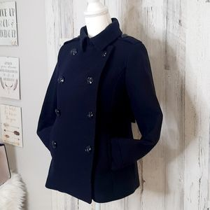 JCP Navy Blue Wool Blend Pea Coat Small